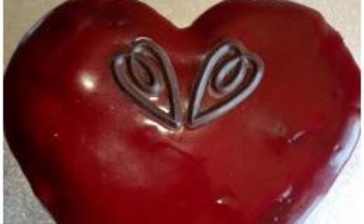 recette de coeur au chocolat avec gla age miroir rouge i cook 39 in. Black Bedroom Furniture Sets. Home Design Ideas