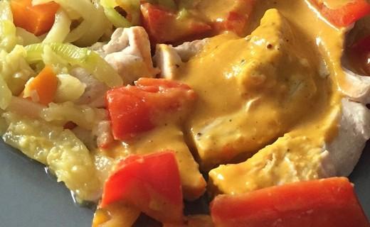 recette de poulet au curry tagliatelles de legumes et sauce coco i cook 39 in. Black Bedroom Furniture Sets. Home Design Ideas