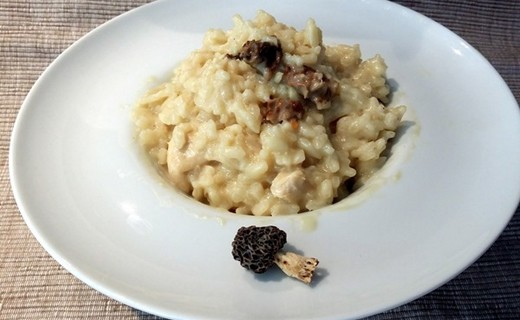 recette de risotto au poulet au vin blanc et aux morilles i cook 39 in. Black Bedroom Furniture Sets. Home Design Ideas