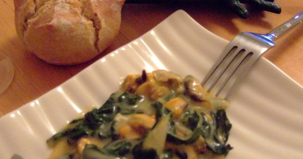 Recette de gratin de feuilles de blettes aux moules i cook 39 in - Cuisiner les feuilles de blettes ...